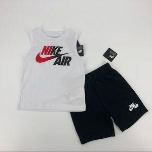 White Nike Air Tank Top w/ Black Shorts Size 4t